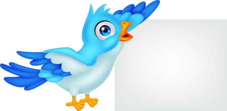 Blue bird with blank sign Çizim