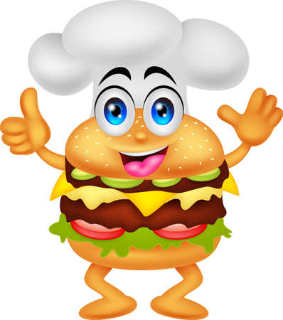 cartoon food: funny cartoon burger chef character