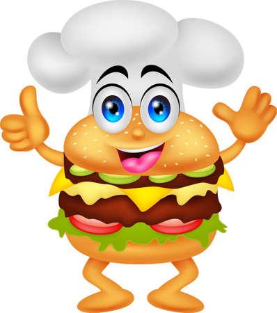 grappige cartoon hamburger chef karakter