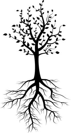 plant stand: tree silhouette with roots