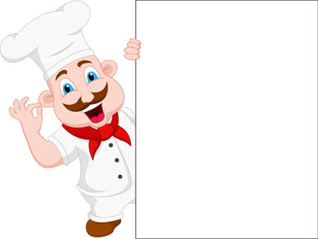 chef cartoon character with blank sign
