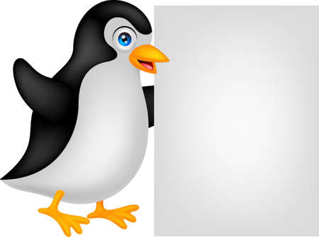 penguin cartoon with blank sign Vector