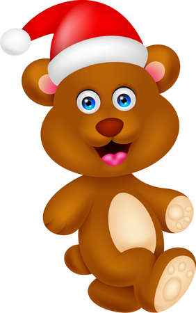 bear cartoon character with hat christmas