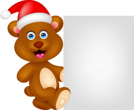 bear cartoon xmas with blank sign Stock Vector - 22113366