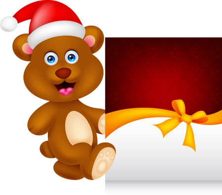 bear cartoon xmas with greeting card Stok Fotoğraf - 22113367
