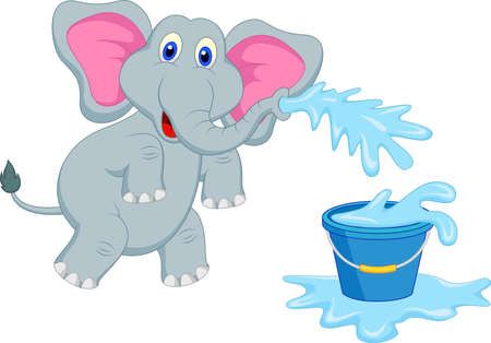 blowing nose: elephant blowing water into the bucket