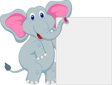 funny elephant cartoon with blank sign Çizim