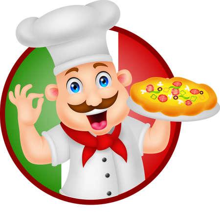 Personaje de dibujos animados Chef con pizza