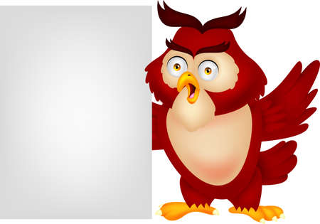 Owl cartoon with blank sign