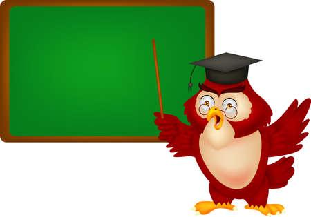 Owl teacher copy space for own text on blackboard Illustration