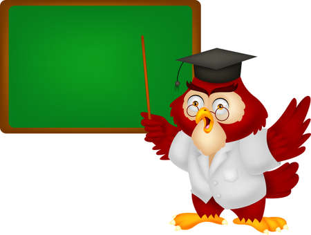 Owl teacher cartoon with board Vector