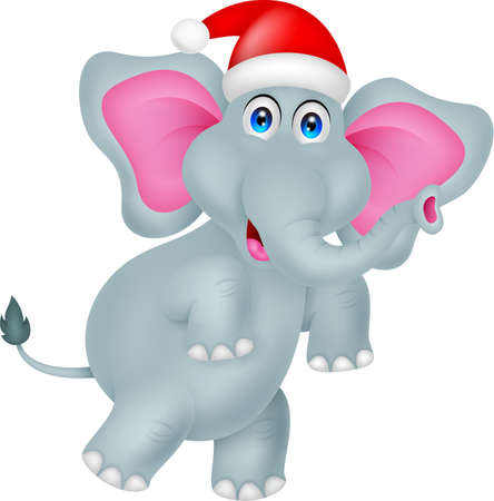 funny elephant cartoon with hat christmas Vector