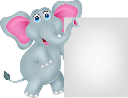 funny elephant cartoon with blank sign Illustration