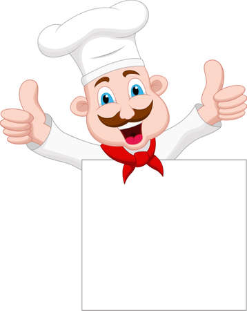 chef cartoon character with blank sign Vector