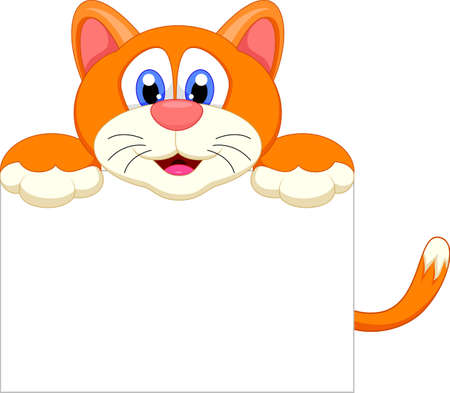 cute cat cartoon character with blank sign Çizim