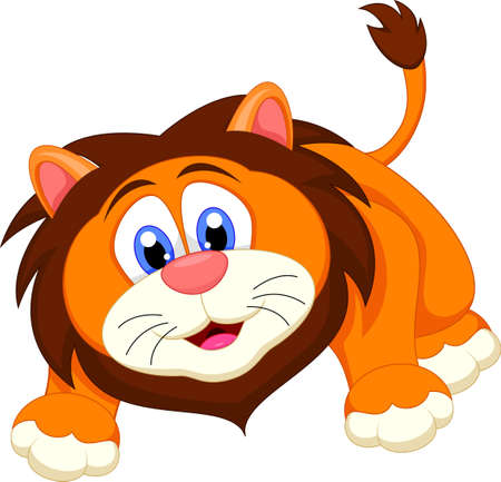 cute lion cartoon character