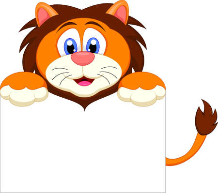 cute lion cartoon character with blank sign Vector