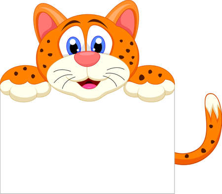 Cute cheetah cartoon with blank sign Vector