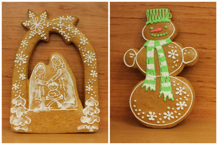 creche: Pan de jengibre decorado con el modelo blanco en detalle