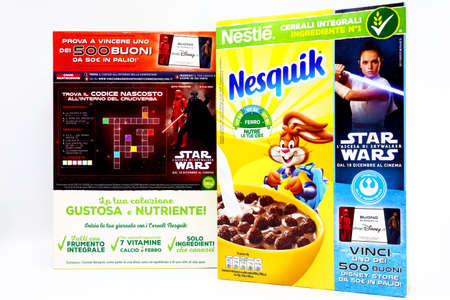 Italy – December 6, 2019: NESQUIK Nestlé promotional Cereals box for the movie STAR WARS The Rise of Skywalker