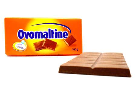 Italy – August 23, 2019: Ovomaltine Chocolate Bar. Ovomaltine is a registered trademark of Associated British Foods