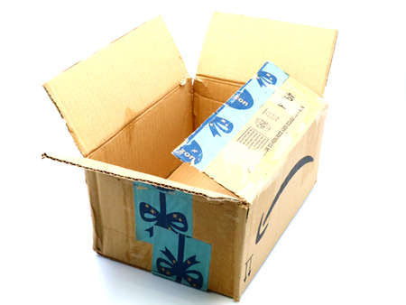 Italy – August 10, 2019: Used AMAZON Shipping Package Parcel Cardboard Box. Amazon is an American Multinational Technology Company of e-commerce Stockfoto - 150130834
