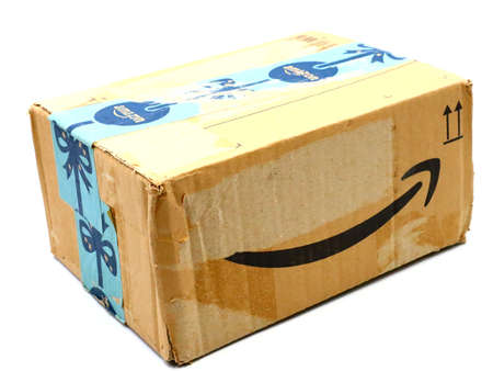 Italy – August 10, 2019: Used AMAZON Shipping Package Parcel Cardboard Box. Amazon is an American Multinational Technology Company of e-commerce Stockfoto - 150130837