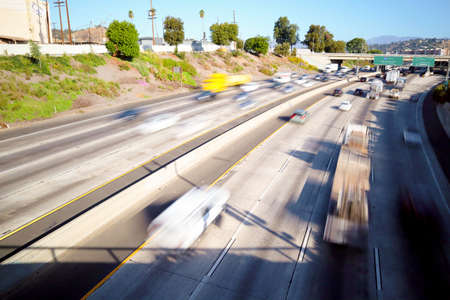 Los Angeles, California - Traffic on Interstate 5, I-5 Highway view from N Broadway – Long Exposure