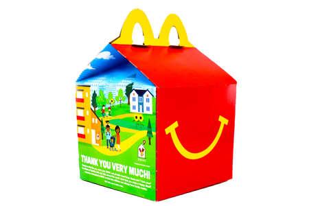 Los Angeles, California – December 2, 2019: McDonald's Happy Meal cardboard box. McDonald's is a fast food restaurant chain Redakční