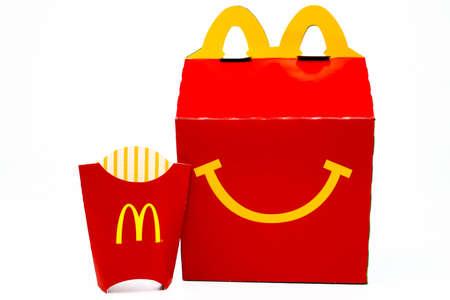 Los Angeles, California – December 2, 2019: McDonald's Happy Meal cardboard box. McDonald's is a fast food restaurant chain. Redakční