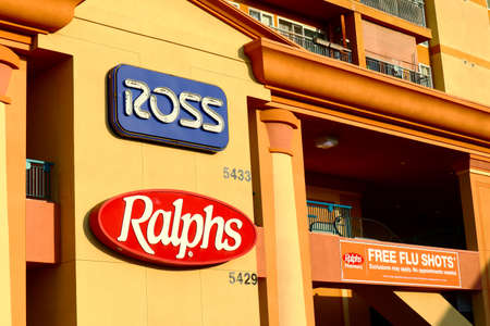 Los Angeles, California - October 9, 2019: Ross and Ralphs Stores on Hollywood Blvd and Western Ave