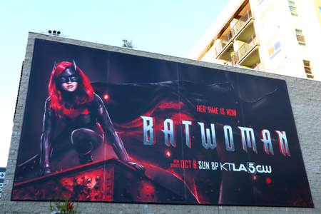 Hollywood, California - October 6, 2019: Billboard of BATWOMAN located on Vine Street, Hollywood. Batwoman is an American superhero television series
