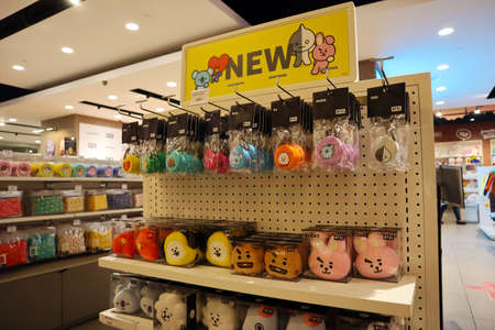 Hollywood, California – October 6, 2019: view inside of LINE FRIENDS and BT21 Pop-up Store in Hollywood on 6922 Hollywood Blvd, Los Angeles