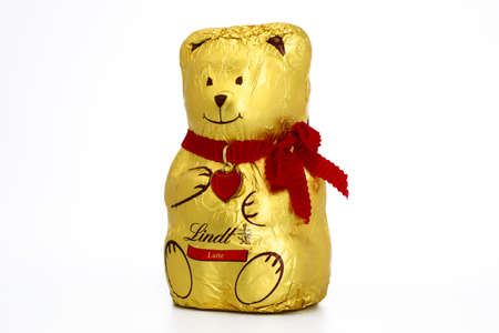 Italy - December 26, 2019: Lindt Teddy Bear Chocolate produced by Lindt & Sprungli, Switzerland