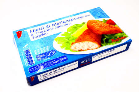 Italy - April 15, 2020: AUCHAN South African Cod Fillets. Sold by Auchan Supermarket chain