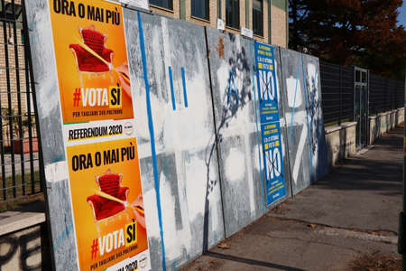 Italy – September 19, 2020: Election wall posters for Italian Costitutional Referendum on september 20-21 concerning the reduction of the number of parliamentarians