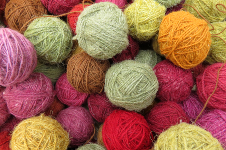 Natural dye on balls of wool, andean inca natural colors