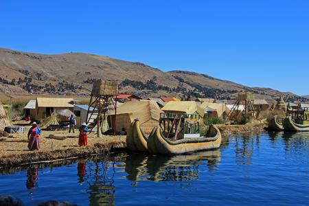 navigable: Totora reed floating islands Uros, lake Titicaca, near Puno, Peru
