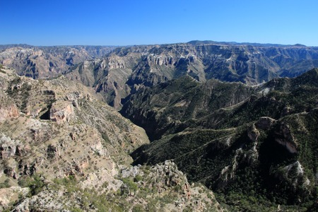 mountainous: Mountainous landscapes of Copper Canyons, panoramic view, Chihuahua, Mexico