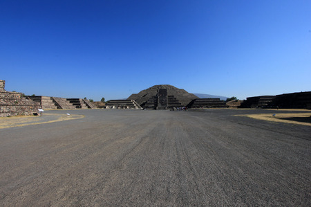 Impressive view to pyramid of the moon and avenida of the dead at Teotihuacan