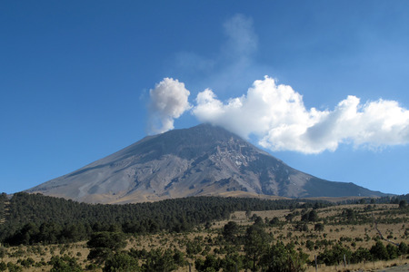 Active Popocatepetl volcano in Mexico, one of the highest mountains in the country