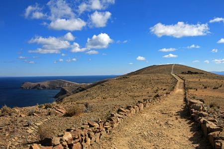 Trail on island of the sun, Isla del Sol, Titicaca lake, Bolivia Stock Photo