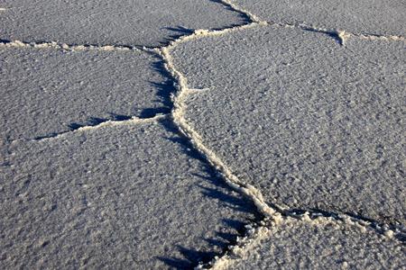 salt flat: Structure on Salar de Uyuni, salt lake, is largest salt flat in the world, altiplano, Bolivia, South America Stock Photo