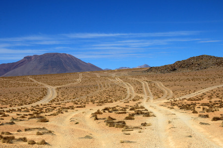 Wheel tracks in the desert near Laguna Colorado, which one leads to destination, Bolivia South America Stock Photo
