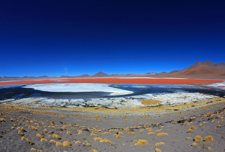 prespective: The nice red colored Laguna Colorada, fisheye prespective, southern Bolivia, South America Stock Photo