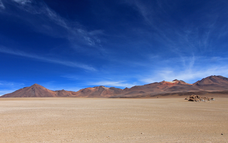 Salvador Dali desert and colorful mountains in Eduardo Avaroa Andean Fauna National Reserve, Bolivia Stock Photo