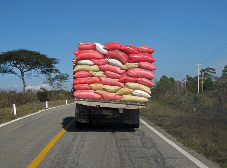 sack truck: A heavy overloaded truck in Chiapas, Mexico