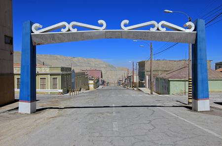 schoolhouse: Ghost town of Chuquicamata, Chile near the copper mine