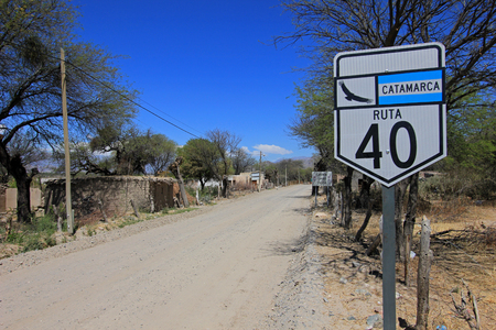 Route 40 with sign, south of Cafayate, Argentina