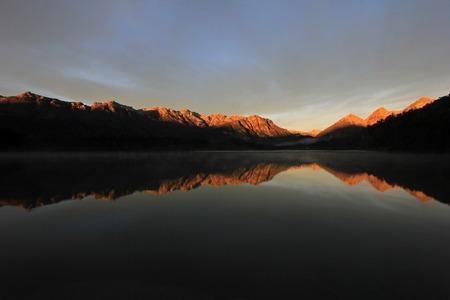 Sunrise at Lake Totoral in autumn, Lake District, Argentina
